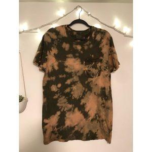 Custom bleach dyed T-shirt with pocket